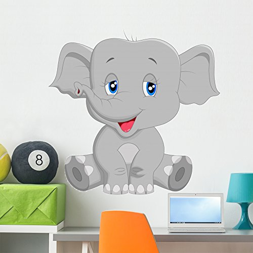 (Wallmonkeys Cute Baby Elephant Cartoon Wall Decal Peel and Stick Graphic (36 in W x 35 in H) WM139010 )