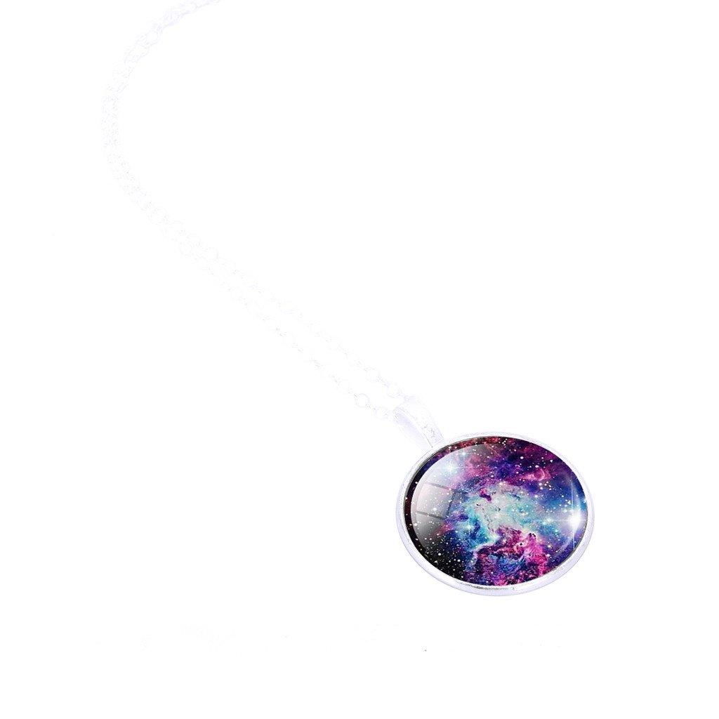 Jiayiqi Las Mujeres Encanto Galaxia Estrellada del Cielo Tiempo Piedra Preciosa Colgante Ajustables del Acero Inoxidable Cadena Collar JoyerÍA: Amazon.es: ...