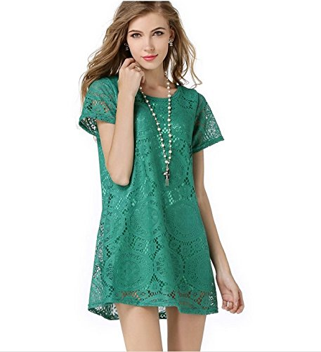 Price comparison product image Superstart Female Women Sexy Casual Lace Dress Hollowout Short Sleeves Silk Skirts for Women in Spring and Summer(Green, L)