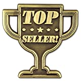 PinMart's Antique Gold Top Seller Trophy Recognition Corporate Lapel Pin