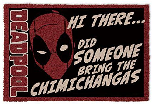 1art1 Deadpool Door Mat Floor Mat - Hi There, Did Someone Bring The Chimichangas (24 x 16 inches) from 1art1