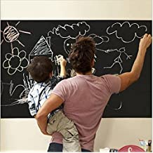 """Extra Large Chalkboard Decal Wall Sticker (Black) 5 Colored Chalk Included - Blackboard Contact Paper Vinyl Chalk Board Paint Alternative (6.5' x 18"""") Home Office Decor by Delma(TM)"""