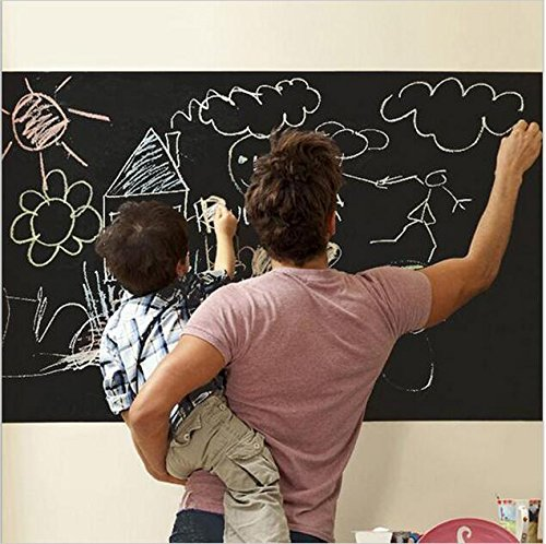 Extra Large Chalkboard Decal Paint Wall Sticker (Black) 5 Colored Chalk Included - Blackboard Contact Paper Vinyl Chalk Board Paint Alternative (6.5' x 18