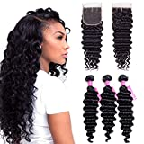 VRVOGUE (18' 20' 22) Deep Wave Brazilian Human Hair Bundles with Lace Closure 16 Inch Free Part 4x4 (Natural Black-330g/Lot-130% Density) 100% Unprocessed Virgin Brazilain Human Weave Hiar Extensions