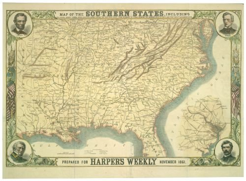 (1861 Map of The Southern States,Including Rail Roads,County Towns,State Capitals,County Roads,The Southern Coast from Delaware to Texas,Showing The Harbors,inlets,forts,and Position of blocka)