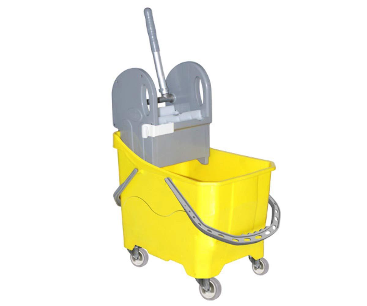 cleanSv Novo gelb Kunststoff Eineimer Putzwagen mit Profi Presse