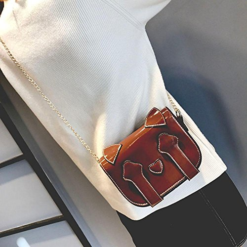 PU Forme Femmes Chat Mignon Main Sac Fille Crossbody pour Porté Bag en Petit en Cabina à Brevets Bandoulière Cuir Mini La Brun épaule Sac Chaîne de fOq0nX
