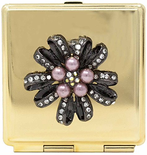 Golden Flower (Square) Folding Compact Pocket Makeup Mirror With Swarovski Rhinestone Crystals Double Sided (5x magnification + 1x magnification) -