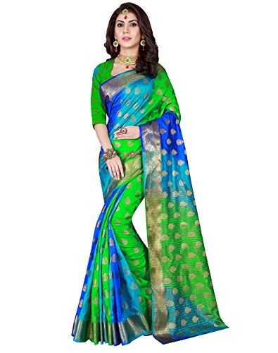 Viva N Diva Women's Green & Blue Color Banarasi Silk Saree With Unstitched Blouse Piece,Green & Blue,Free Size