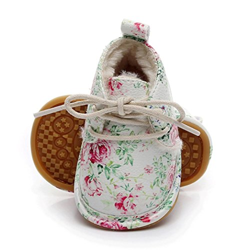 OverDose Neugeborene Baby Mädchen Jungen Solid/Floral Crib Schuhe Soft Sole Anti-Rutsch Turnschuhe Pre-Walker Kleinkind Schuhe Sneakers B-White