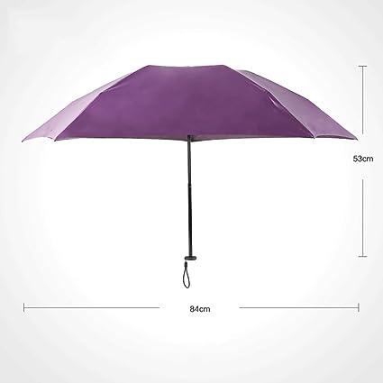 Sombrilla Mini Ultraligera Sombrilla Tri-Plegable Protección Solar Clima UV Sombrilla Doble Plegable QIQIDEDIAN (