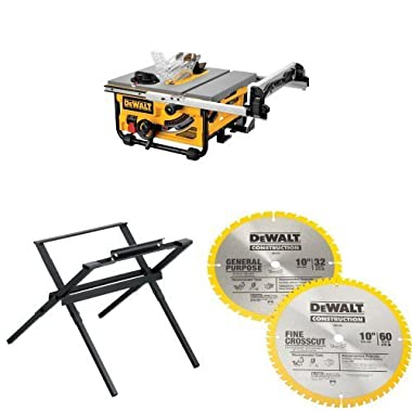 DEWALT DW745 10-Inch Compact Job-Site Table Saw with 20-Inch Max Rip Capacity - 120V  w/ DW7450 Table Saw Stand and DW3106P5 10-Inch Saw Blade Combo Pack