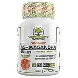 Organic Ashwagandha Capsules Root Powder 132 Pills Adrenal Thyroid for Energy Metabolism Boost