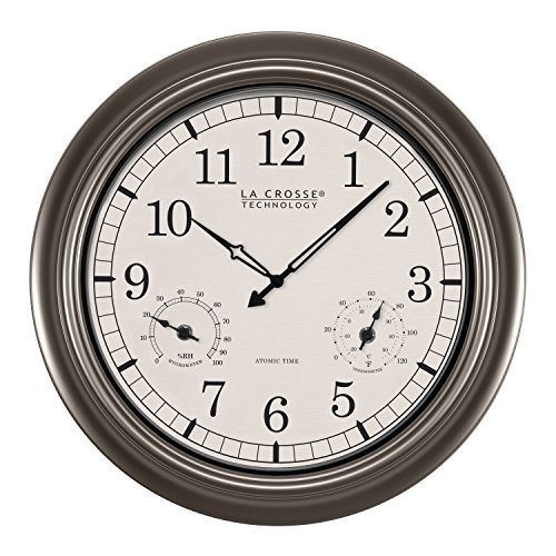 La Crosse Technology WT-3181PL-INT 18 inch Atomic Outdoor Clock with Temperature & Humidity Analog Weather Stations