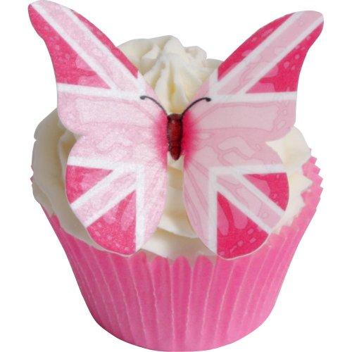12 Pink Union Jack Edible Butterflies (Jack Pink Union)