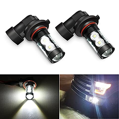 AMBOTHER H10 9145 9140 Car LED Xenon Extremely Bright Fog Bulbs Lights Max 50W High Power Daytime Running Light Lamps with Projector for DRL or Fog Lights Replacement , Xenon White 6000K (Pack of - 9145 Bulb