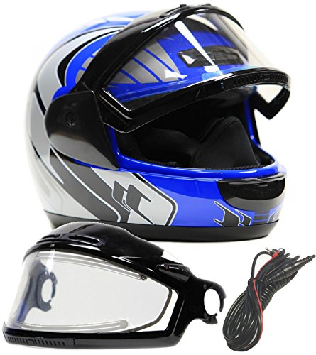 Typhoon Helmets Adult Snowmobile Helmet with Electric Heated Shield Mens Womens Full Face Dual Lens - Blue (XXXL) Electric Snowmobile Shield