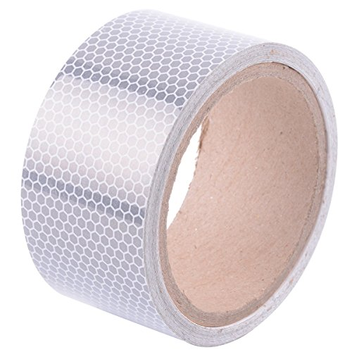 High-Intensity Reflective Tape for Vehicles Boats Clothes Helmets Mailboxes, 2 Inches by 5 Yards, Silver & White