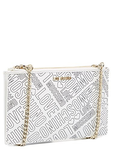 love moschino borsa a tracolla embossed pu bianco