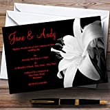 Stunning Lily Flower Black White Red Personalized Wedding Invitations