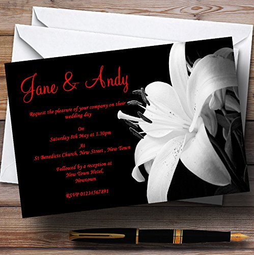 (Stunning Lily Flower Black White Red Personalized Wedding Invitations)