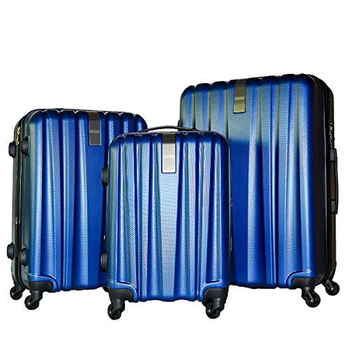 3 Piece Luggage Set Durable Lightweight Hard Case Spinner Suitecase LUG3-HD1603-DARK BLUE by HyBrid & Company