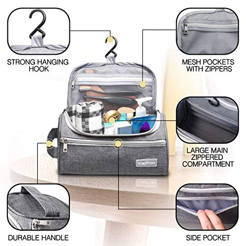 Travel Toiletry Bag - Small Portable Hanging Cosmetic Organizer for Men Women, Makeup, Toiletries, Hygiene Accessories, Shaving Kit, Clippers and Grooming Tools, Waterproof, Bathroom, Shower, Gym