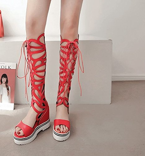 Carolbar Womens Party Zip Lace-Up Platform Wedges Knee-High Summer Boots Red C6nOHn7F