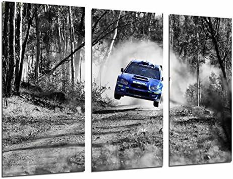Cuadro Fotográfico Coche Carreras Subaru Azul Paisaje Bosque ...