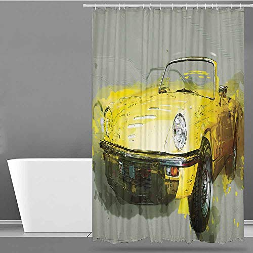 VIVIDX Funny Shower Curtain,Car,Retro Style Classic 50s 60s Cuban American Watercolor Big Cosy Car Print Picture,for Master, Kid's, Guest Bathroom,W72x72L Sage Green Yellow -