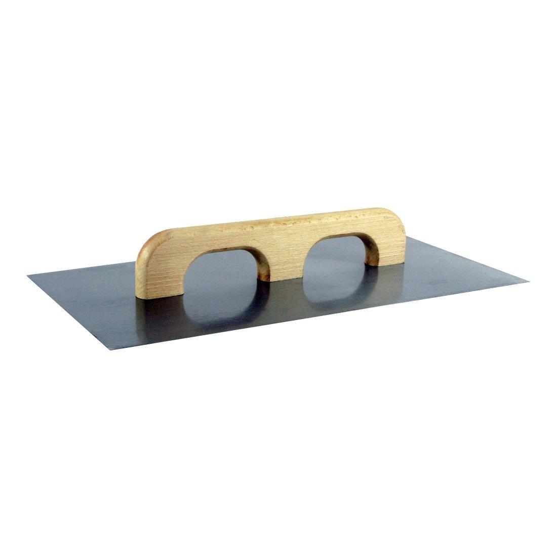 Stahl-Aufziehplatte 500 x 260 x 1,2 mm, blank, Doppel-Holzgriff bauCompany24