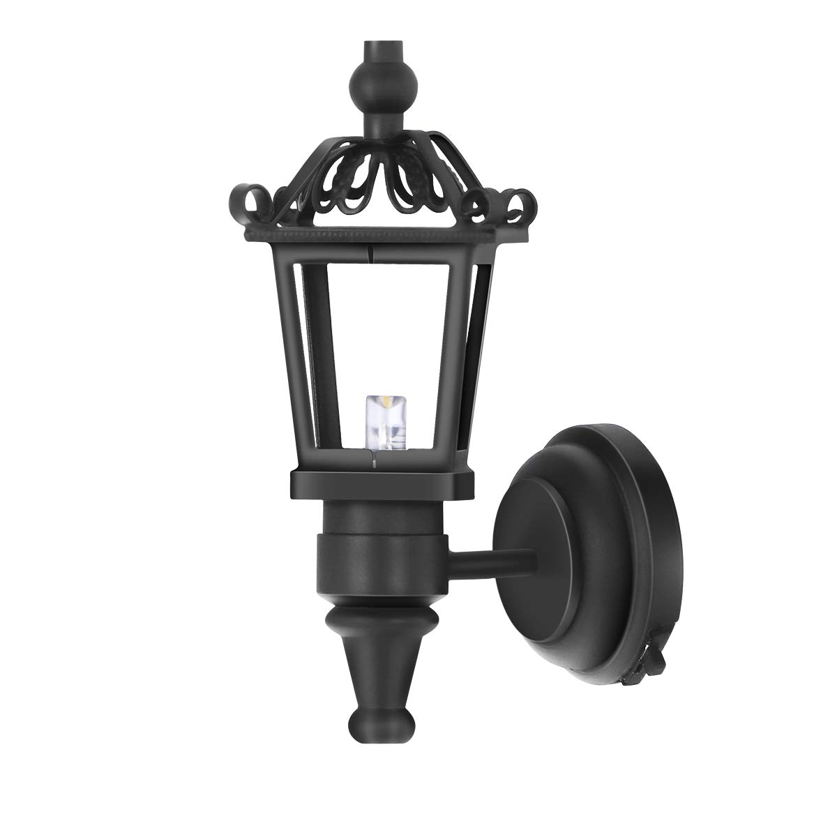 Leorx Vintage DIY Dollhouse 1 12 Dollhouse Miniature LED Wall Light Lamp (Black) by LEORX