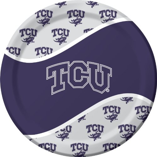Creative Converting Texas Christian Horned Frogs Dinner Paper Plates, 8-Count