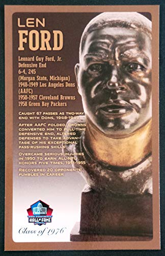 PRO FOOTBALL HALL OF FAME Len Ford NFL Bronze Bust Set Card Postcard (Limited Edition #94 of 150)