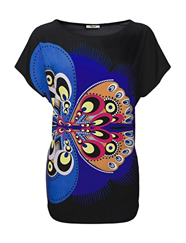Bebonnie-Womens-Dolman-Sleeve-Scoop-Neck-Print-Butterfly-Tunic-Tops