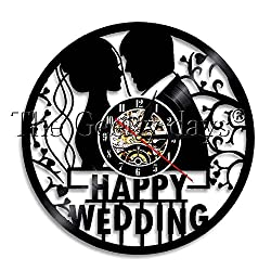 The Geeky Days Wedding Anniversary 5 Years Vinyl Record Wall Clock Moden Decign Happy Wedding Marriage Home Decor Bedroom Wall Watch Decor For Couple Gift (No Led)