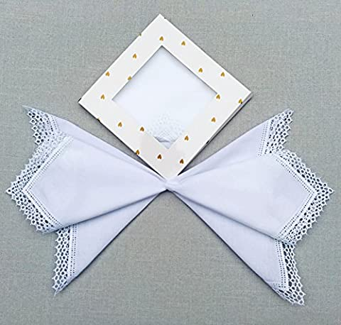 Boxed Gift Set of 2 Wedding Embroidery Honeycomb Lace Handkerchief for Bride & Ladies/white,B609x2 - Embroidery Box Set