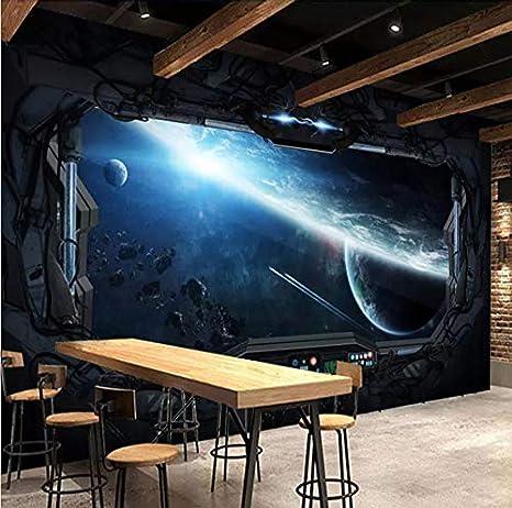 Mkkwp Custom 3D Photo Wallpaper Cosmic Space Cabin Nave Espacial Pintura Mural 3D Restaurante Hotel Internet Gaming Room Mural Papel De Pared-300Cmx210Cm: ...