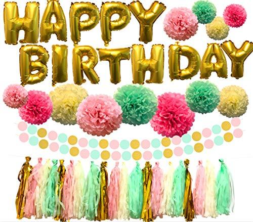 Furuki birthday decorations, happy birthday banner, birthday party decorations including happy birthday balloons, paper pom poms, tassel garland and circle dot paper garland for birthday party decor, full set of birthday party supplies, 93 pcs for $<!--$18.99-->