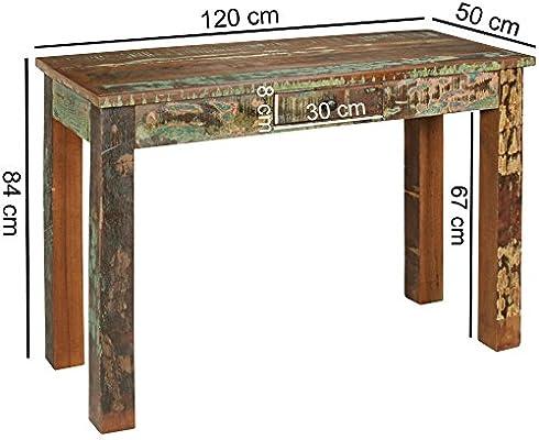 Consola Kakutta 120 x 50 x 84 cm, Madera Maciza de Escritorio con ...