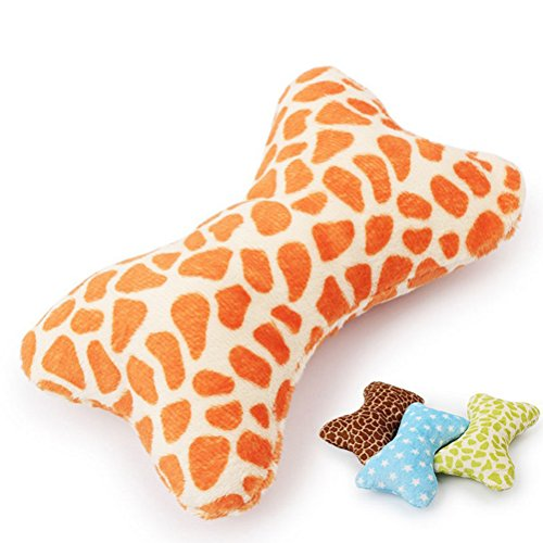 (Bazzano 1 X Plush pet Dog Sound Toys Bone Shape Puppy cat chew Squeaker Squeaky Toy NJ)
