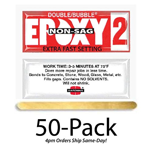 Hardman Double Bubble Red Epoxy2 - Extra Fast Setting (3-5 minute) Non-Sag/No-Drip (Thixotropic) Epoxy Gel 50 Packs (#04008) - Epoxy Packet