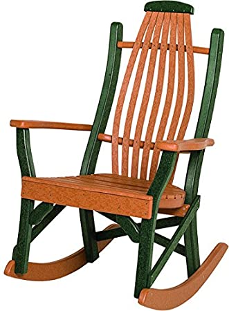 Poly Lumber Bentwood Style Rocking Chair In Cedar U0026 Brown   Rocker Is Amish  Made In