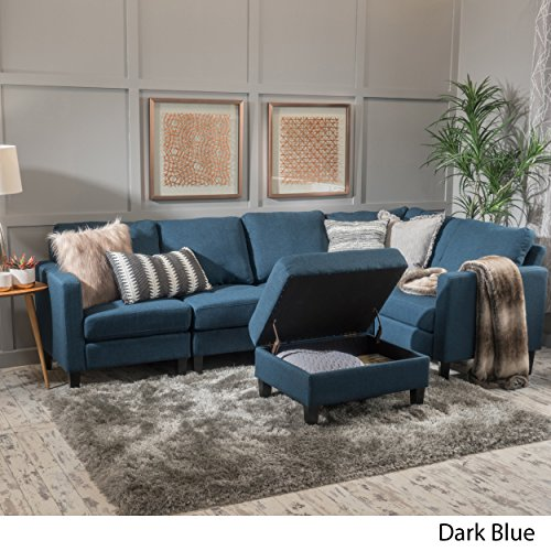 Christopher Knight Home 300117 Carolina Dark Blue Fabric Sectional Couch with Storage Ottoman, Sofa