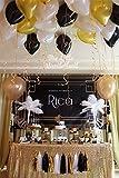 Sunniemart Back Gold Party Decoration Black White Glitter Gold Tissue Paper Pom Pom Paper Tassel Garland Paper Circle Garland for New Years Party Decor,Wedding Birthday Decoration