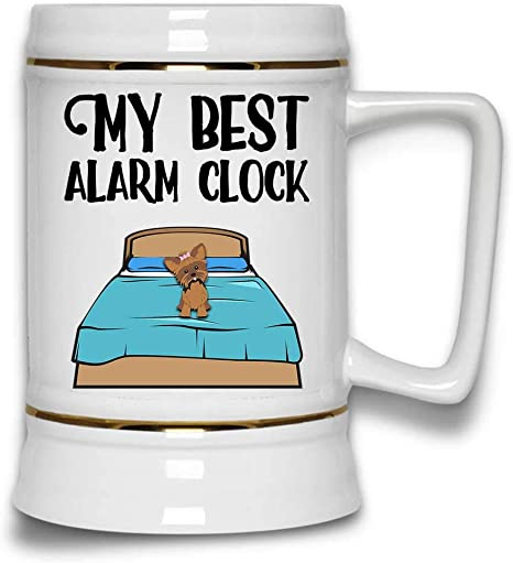 Amazon Com My Best Alarm Clock Funny Dog Lover Pet Owner Beer Stein Mug With Handle White Ceramic 22 Oz Beer Mugs Steins
