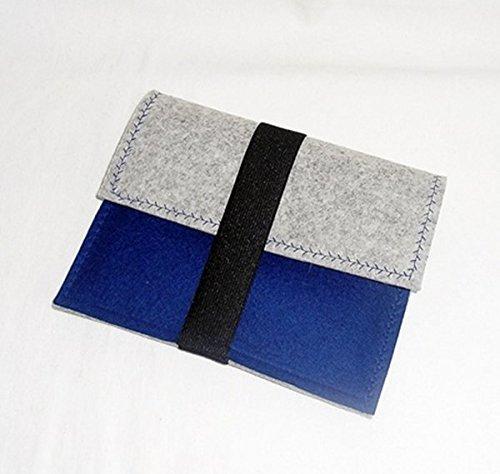 WollFilzhülle E-Book-Reader blau-graumeliert