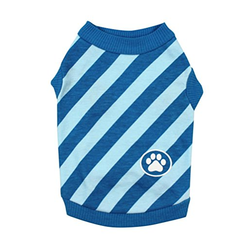 Pet Costume HCFKJ Striped Vest For Dogs Pets Dog Shirt Clothes Sweatshirts Clothing For Dogs (S, Blue) (Adult Hoody Sweatshirt Pinscher)