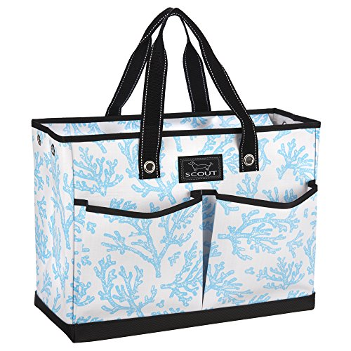 SCOUT BJ Bag, Large Multi Pocket Utility Tote for Beach and Pool, Reinforced Bottom, Water Resistant, Zips Closed, Oh Cay