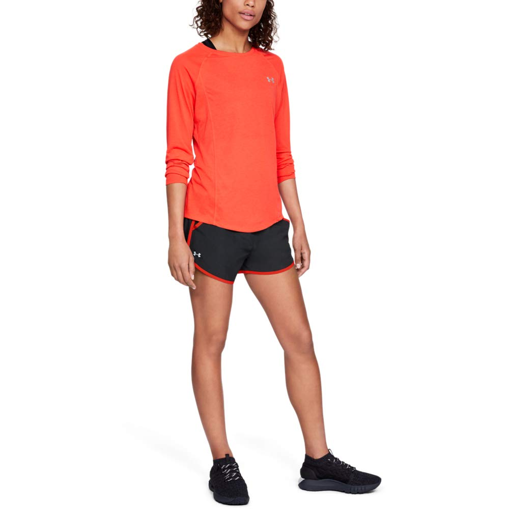 Under Armour womens Fly By Running Shorts, Black (039)/Reflective, X-Large by Under Armour
